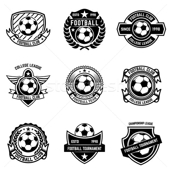 Set of winged emblems with soccer ball. Design element for logo, label, emblem, sign.  Stock photo © masay256