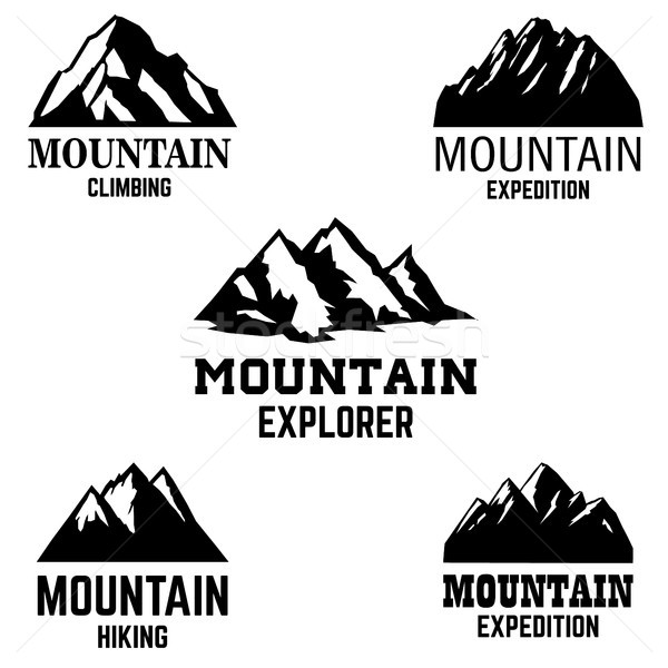 Ayarlamak dağ simgeler yalıtılmış ışık dizayn Stok fotoğraf © masay256