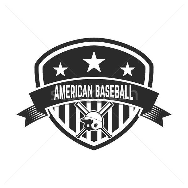 Emblem with crossed baseball bat and baseball helmet. Design element for logo, label, emblem, sign,  Stock photo © masay256