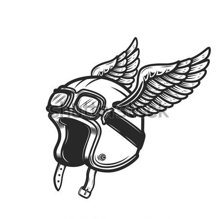 żyć motocykla kask skrzydełka biały Zdjęcia stock © masay256