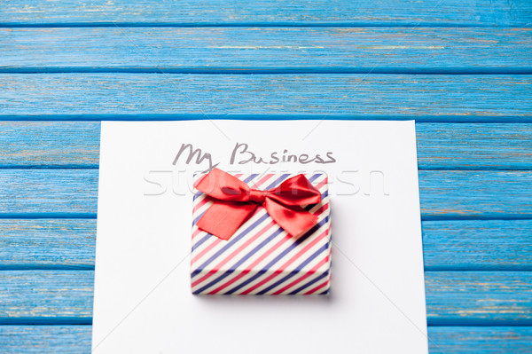 photo of paper My business and cute gift  on the wonderful blue  Stock photo © Massonforstock