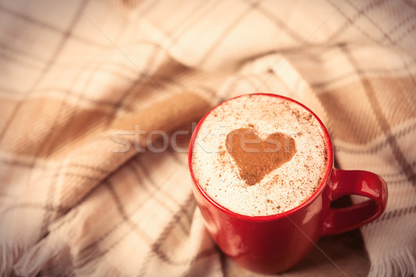 photo of cup of coffee and tablecloth on the wonderful brown woo Stock photo © Massonforstock