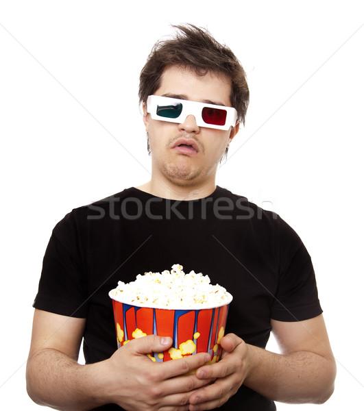 Drôle hommes stéréo verres popcorn Photo stock © Massonforstock