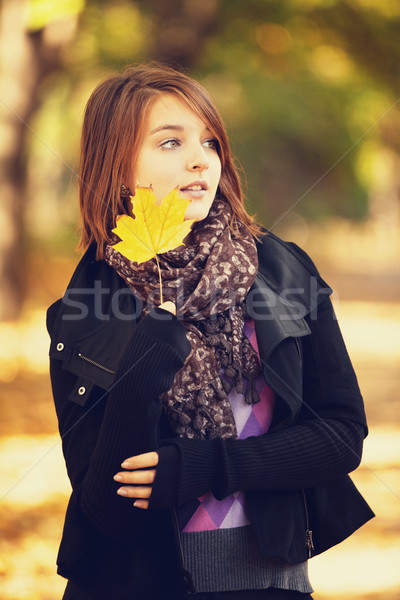 Beautiful girl at autumn park. Stock photo © Massonforstock