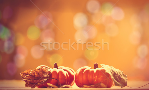 Two pumpkins and leafs  Stock photo © Massonforstock