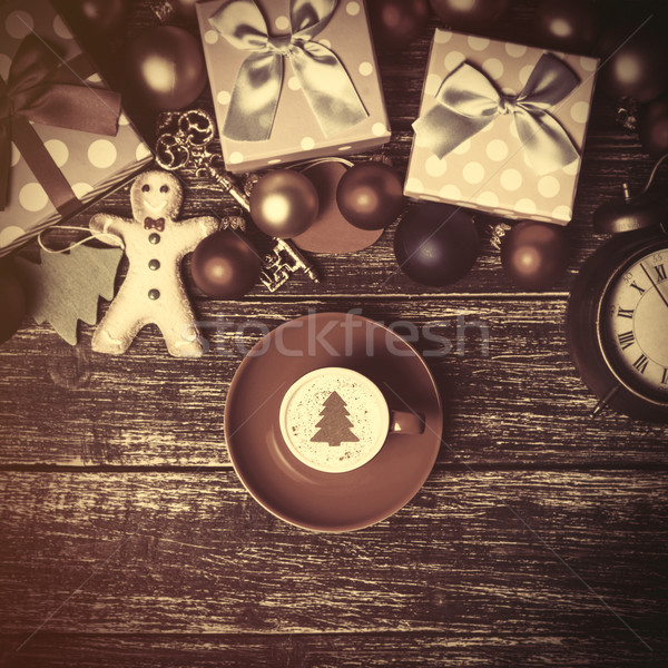 Beker koffie room kerstboom speelgoed tabel Stockfoto © Massonforstock
