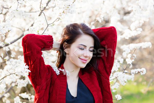 Belo mulher jovem em pé maravilhoso árvores Foto stock © Massonforstock
