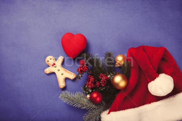 Gingerbread man Noel hediyeler mavi kalp Retro Stok fotoğraf © Massonforstock