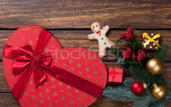 Gingerbread man Noel hediyeler ahşap Retro beyaz Stok fotoğraf © Massonforstock
