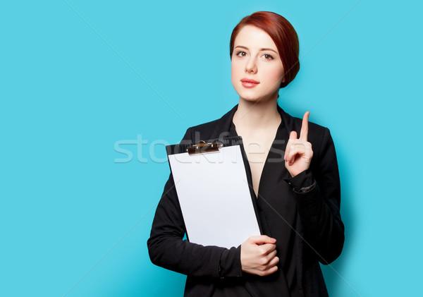 美しい 若い女性 クリップボード 素晴らしい 青 作業 ストックフォト © Massonforstock