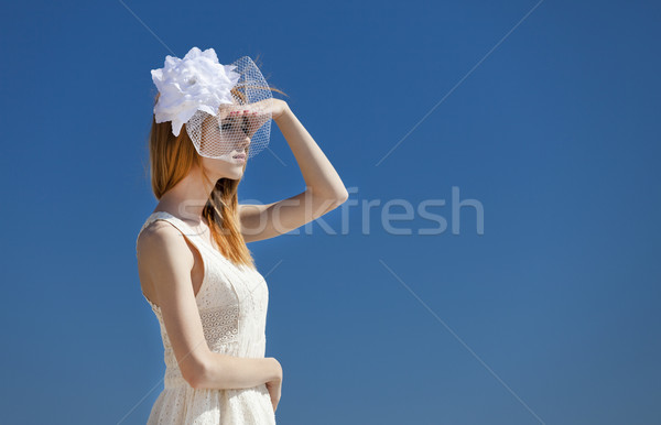 Young bride at the beach Stock photo © Massonforstock