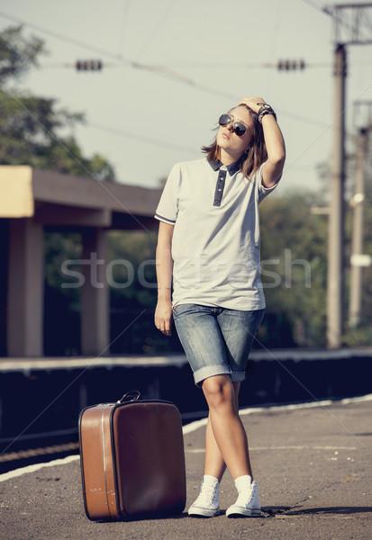 Hipszter lány vasútvonal vágány város nők Stock fotó © Massonforstock