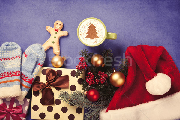 Сток-фото: капучино · подарки · Кубок · рождественская · елка · форма · синий