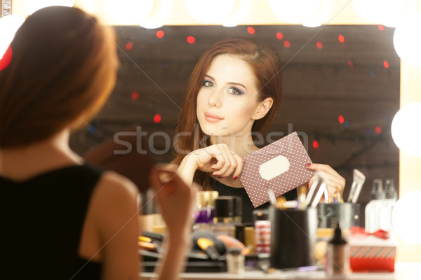 Portrait of a beautiful woman with certificate  Stock photo © Massonforstock