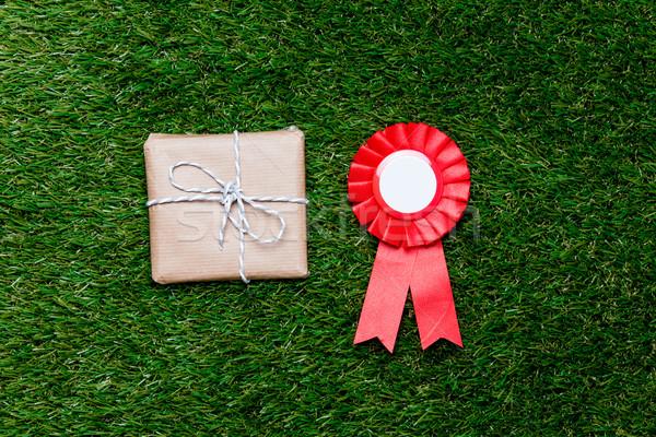 красный вознаграждать шкатулке зеленая трава точки Сток-фото © Massonforstock