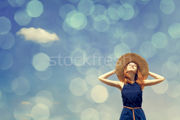 Сток-фото: девушки · весны · Blue · Sky · фото · bokeh