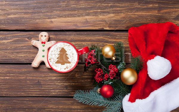 Сток-фото: капучино · подарки · Кубок · рождественская · елка · форма