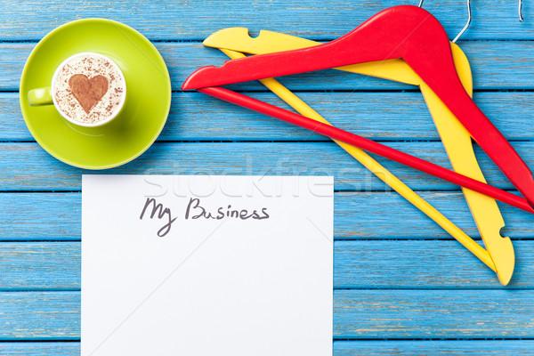 Papier beker tabel vel koffie twee Stockfoto © Massonforstock