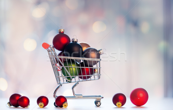 Christmas decoration and shopping cart Stock photo © Massonforstock