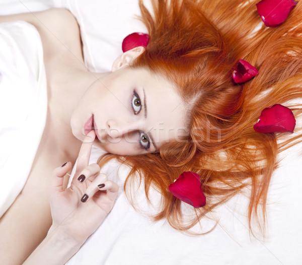 Stockfoto: Mooie · meisje · bed · steeg