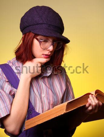 Mode meisje oude salie boek gezicht Stockfoto © Massonforstock