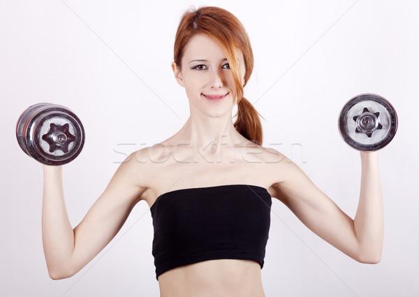 Vonzó tinilány súlyzók nő lány test Stock fotó © Massonforstock