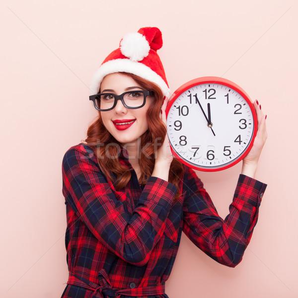 Noel baba şapka saat portre genç kafkas Stok fotoğraf © Massonforstock