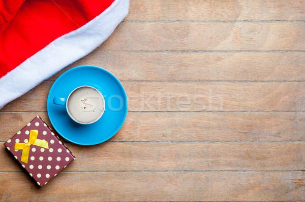 カップ コーヒー ギフト サンタクロース 帽子 素晴らしい ストックフォト © Massonforstock