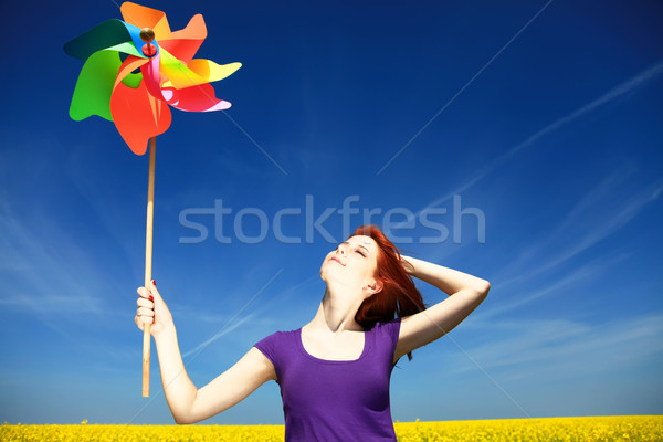 Young girl with wind turbine  Stock photo © Massonforstock