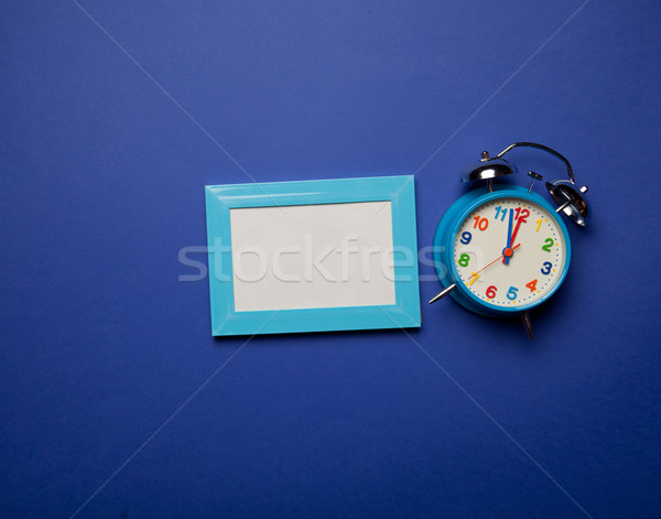 Retro sveglia photo frame blu colore foto Foto d'archivio © Massonforstock