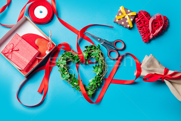 gifts, heart shaped toys lying near things for decoration on the Stock photo © Massonforstock
