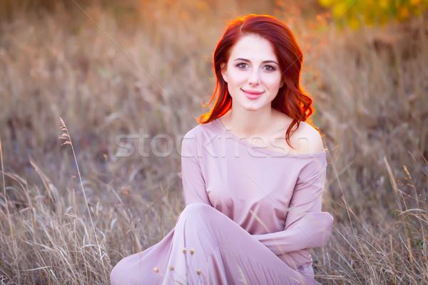 Güzel genç kadın fantastik elbise harika çim Stok fotoğraf © Massonforstock