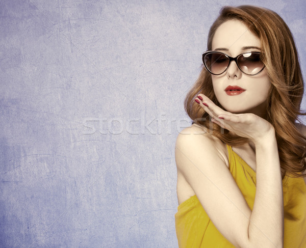 Foto stock: Americano · menina · óculos · de · sol · foto · 60 · anos