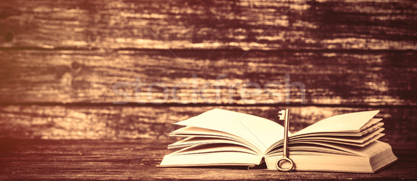 Vintage old books on wooden table Stock photo © Massonforstock