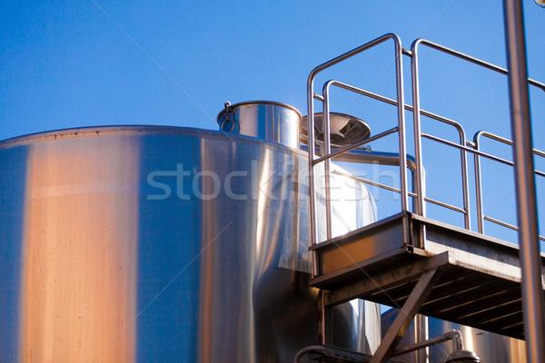Metal pojemność wina Błękitne niebo niebo budynku Zdjęcia stock © Massonforstock