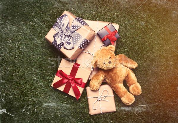 Geschenken teddybeer kleurrijk cute mooie groene Stockfoto © Massonforstock