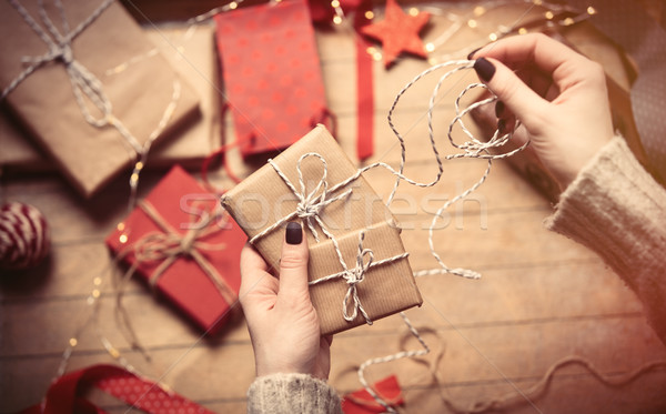 hands wrapping gifts Stock photo © Massonforstock