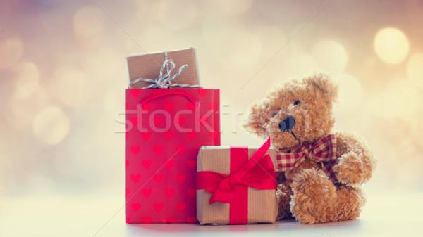 Serin alışveriş çantası sevimli oyuncak ayı güzel hediyeler Stok fotoğraf © Massonforstock