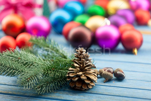 Pine cone and acorns with Christmas toys Stock photo © Massonforstock