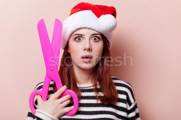 Femme drôle ciseaux portrait jeunes Photo stock © Massonforstock