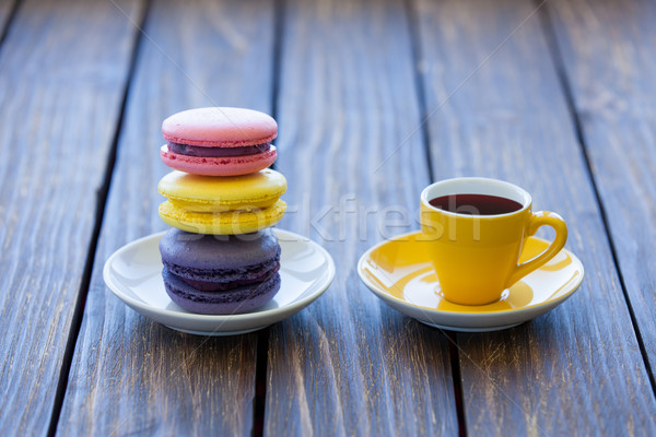 Cup of coffee and macarons Stock photo © Massonforstock