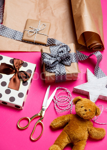 cute gifts, star shaped toy, teddy bear and things for wrapping  Stock photo © Massonforstock