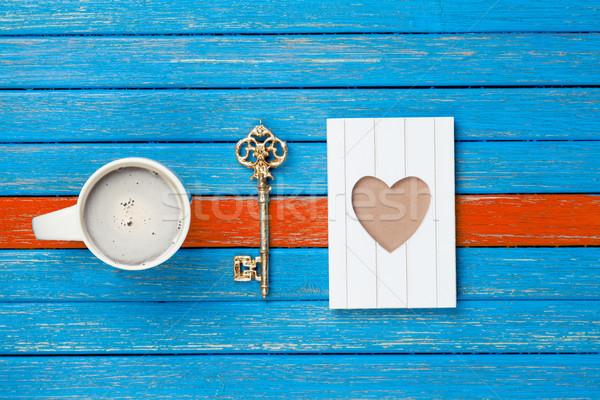 Fotó csésze kávé arany kulcs képeslap Stock fotó © Massonforstock