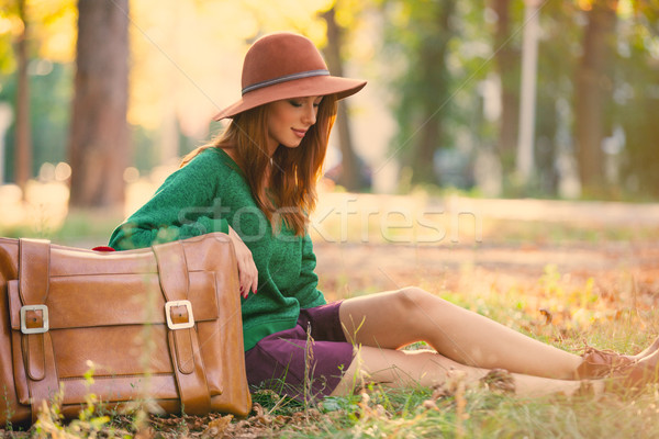 Fotó gyönyörű fiatal nő bőrönd csodálatos ősz Stock fotó © Massonforstock