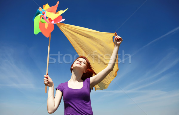 Fiatal lány szélturbina lány tavasz absztrakt természet Stock fotó © Massonforstock