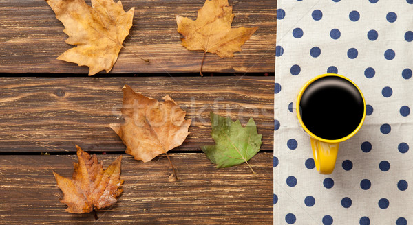 Cup of coffee and leafs  Stock photo © Massonforstock