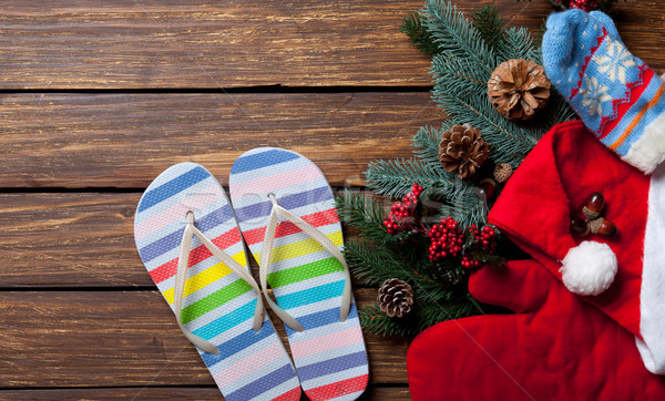 Slippers and Christmas things Stock photo © Massonforstock