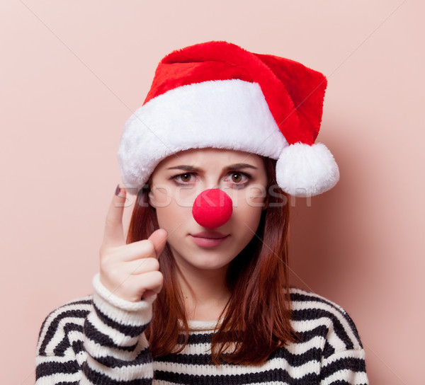 woman with red clown nose Stock photo © Massonforstock
