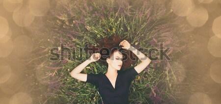 少女 ラベンダー畑 肖像 美しい 赤毛 表示 ストックフォト © Massonforstock