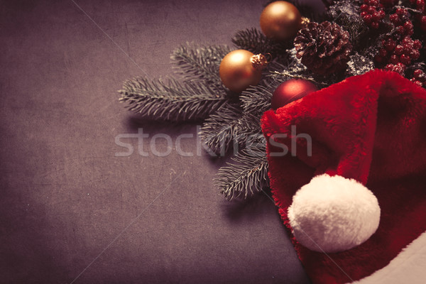 Stock photo: Christmas tree branch and baubles